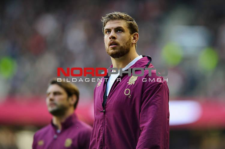 England replacement (#19) Dave Attwood (Bath Rugby)  looks on during the first half of the match -  02/11/2013 - SPORT - RUGBY UNION -  Twickenham Stadium, London - England v Australia - Cook Cup - QBE Autumn Internationals.<br /> Foto nph / Meredith<br /> <br /> ***** OUT OF UK *****