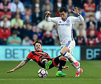 Chelsea's Eden Hazard (R) is tackled by Bournemouth's Adam Smith (L)<br /> <br /> Bournemouth 1 - Chelsea 3<br /> <br /> Photographer David Horton/CameraSport<br /> <br /> The Premier League - Bournemouth v Chelsea - Saturday 8th April 2017 - Vitality Stadium - Bournemouth<br /> <br /> World Copyright &copy; 2017 CameraSport. All rights reserved. 43 Linden Ave. Countesthorpe. Leicester. England. LE8 5PG - Tel: +44 (0) 116 277 4147 - admin@camerasport.com - www.camerasport.com