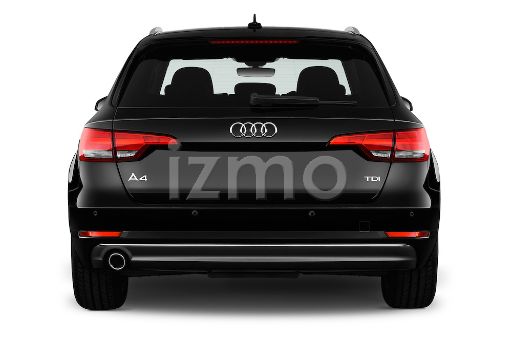 Straight rear view of 2017 Audi A4 Sport 5 Door Wagon Rear View  stock images