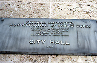 Houston: City Hall Plaque 1939 for Administration of Public Works. Photo '80.