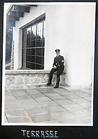 BNPS.co.uk (01202 558833)<br /> Pic: Jones&Jacob/BNPS<br /> <br /> SS soldier on the terrace at the Berghof - The Fuhrers home in Berchtesgaden - The LSSAH were tasked with its protection.<br /> <br /> Springtime for Hitler...Chilling album of pictures taken by one of Hitlers bodyguards illustrates the Nazi dictators rise to power.<br /> <br /> An unseen album of photographs taken by a member of Hitlers own elite SS bodyguard division in the years leading up to the start of WW2.<br /> <br /> The 1st SS Panzer Division 'Leibstandarte SS Adolf Hitler' or LSSAH began as Adolf Hitler's personal bodyguard in the 1920's responsible for guarding the Führer's 'person, offices, and residences'.