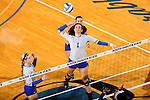 BROOKINGS, SD - OCTOBER 28:  Sierra Peterson #1 from South Dakota State winds up for a kill against Oral Roberts Friday night at Frost Arena in Brookings. (Photo by Dave Eggen/Inertia)