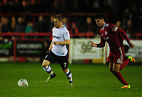 Preston North End's Daryl Horgan under pressure from Accrington Stanley's Liam Nolan<br /> <br /> Photographer Kevin Barnes/CameraSport<br /> <br /> The Carabao Cup - Accrington Stanley v Preston North End - Tuesday 8th August 2017 - Crown Ground - Accrington<br />  <br /> World Copyright &copy; 2017 CameraSport. All rights reserved. 43 Linden Ave. Countesthorpe. Leicester. England. LE8 5PG - Tel: +44 (0) 116 277 4147 - admin@camerasport.com - www.camerasport.com