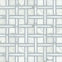 Parker, a hand-cut stone mosaic, shown in Bardiglio, polished Calacatta Tia, is part of the Silk Road Collection by Sara Baldwin for New Ravenna Mosaics. <br />