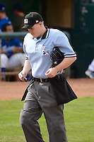 Home plate umpire Marc Lindsey as he works the game between the Ogden Raptors and the Grand Junction Rockies at Lindquist Field on September 8, 2013 in Ogden Utah.  (Stephen Smith/Four Seam Images)