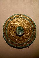 Aztec gold Disco de Tezcocuit Lapilli in the Templo Mayor Museum, Mexico City..