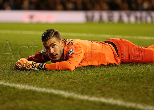 22.11.2015. White Hart Lane, London, England. Barclays Premier League. Tottenham Hotspur versus West Ham United. West Ham United Goalkeeper Adrian lays on the floor after saving a shot from Harry Kane of Tottenham Hotspur