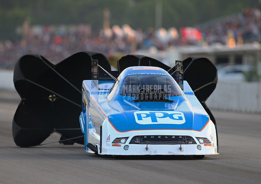 Jun 3, 2016; Epping , NH, USA; NHRA funny car driver Bob Tasca III during qualifying for the New England Nationals at New England Dragway. Mandatory Credit: Mark J. Rebilas-USA TODAY Sports