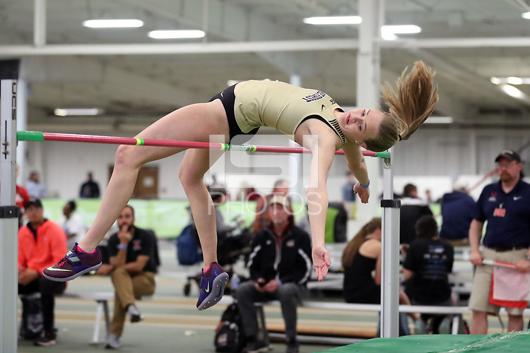 WINSTON-SALEM, NC - FEBRUARY 07: Meghan O'Malley of Wake Forest University competes in the Women's High Jump at JDL Fast Track on February 07, 2020 in Winston-Salem, North Carolina.
