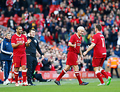 24th March 2018, Anfield, Liverpool, England; LFC Foundation Legends Charity Match 2018, Liverpool Legends versus FC Bayern Legends; Vladimir Smicer comes off the pitch as Liverpool Legends player-manager Ian Rush comes on with Phil babb