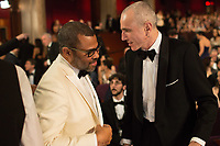 Oscar&reg;-nominees Jordan Peele and Daniel Day-Lewis talk during the live ABC Telecast of the 90th Oscars&reg; at the Dolby&reg; Theatre in Hollywood, CA on Sunday, March 4, 2018.<br /> *Editorial Use Only*<br /> CAP/PLF/AMPAS<br /> Supplied by Capital Pictures