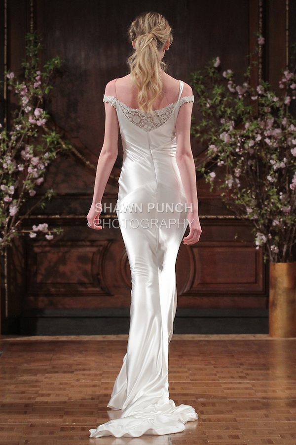 "Model walks runway in a ""Ricki"" bridal gown from the Isabelle Armstrong Spring Collection 2017, at Lotte New York Palace Hotel, during New York Bridal Fashion Week Spring Summer 2017 on April 16, 2017."