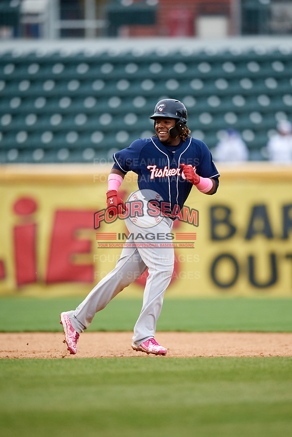 New Hampshire Fisher Cats third baseman Vladimir Guerrero Jr. (27) leads off second base during the second game of a doubleheader against the Harrisburg Senators on May 13, 2018 at FNB Field in Harrisburg, Pennsylvania.  New Hampshire defeated Harrisburg 6-1.  (Mike Janes/Four Seam Images)