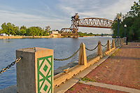 The Historic Joliet Railroad Lift Bridge crosses the DesPlaines River in Downtown Joliet is shown in Late afternoon light, Joliet,  Will County, Illinois