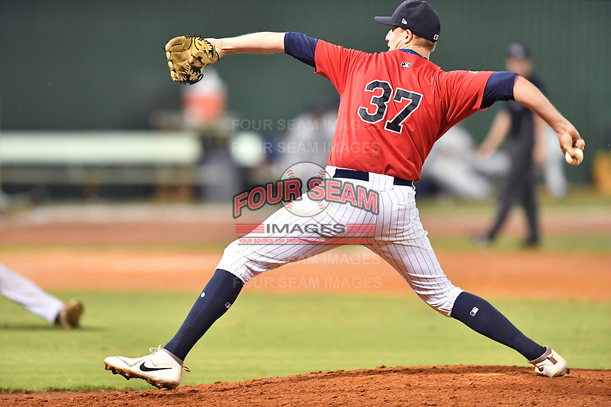 Elizabethton Twins pitcher Tyler Palm (37) delivers a pitch during game two of the Appalachian League Championship Series against the Princeton Rays at Joe O'Brien Field on September 5, 2018 in Elizabethton, Tennessee. The Twins defeated the Rays 2-1 to win the Appalachian League Championship. (Tony Farlow/Four Seam Images)