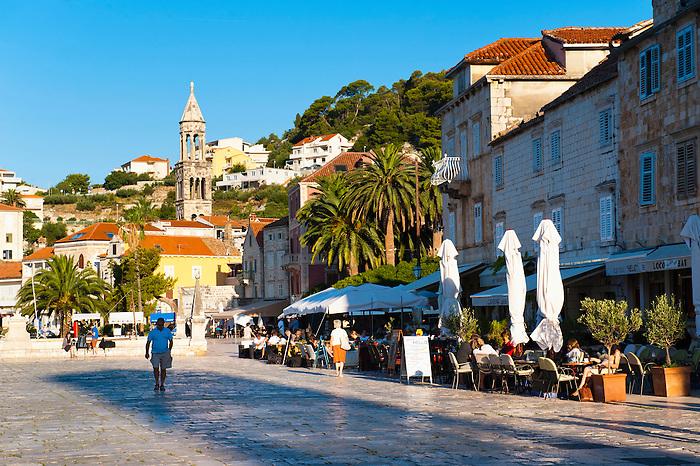 Church bell tower, Hvar town, Hvar Island, Dalmatian Coast, Croatia. This is a photo of a church bell tower in Hvar town centre, Hvar Island, Dalmatian Coast, Croatia.