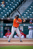 Norfolk Tides Cedric Mullins (38) bats during an International League game against the Buffalo Bisons on June 21, 2019 at Sahlen Field in Buffalo, New York.  Buffalo defeated Norfolk 2-1, the first game of a doubleheader.  (Mike Janes/Four Seam Images)