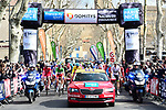 The ceremonial start of Stage 5 running 165km from Salon-de-Provence to Sisteron, France. 8th March 2018.<br /> Picture: ASO/Alex Broadway | Cyclefile<br /> <br /> <br /> All photos usage must carry mandatory copyright credit (&copy; Cyclefile | ASO/Alex Broadway)