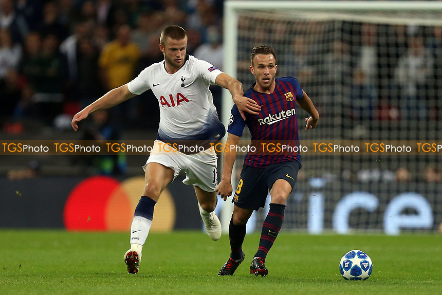 Arthur of FC Barcelona and Eric Dier of Tottenham Hotspur during Tottenham Hotspur vs FC Barcelona, UEFA Champions League Football at Wembley Stadium on 3rd October 2018