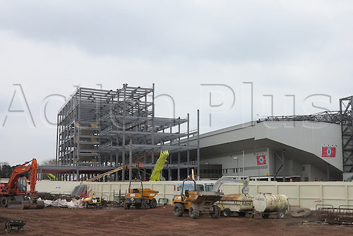 02.05.2015.  Liverpool, England. Barclays Premier League. Liverpool versus Queens Park Rangers. General view of Anfield showing building works on the main stand.