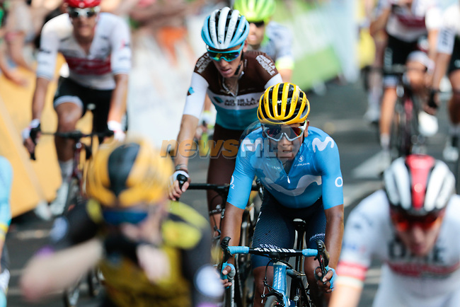 Nairo Quintana (COL) Movistar Team crosses the finish line of Stage 11 of the 2019 Tour de France running 167km from Albi to Toulouse, France. 17th July 2019.<br /> Picture: Colin Flockton | Cyclefile<br /> All photos usage must carry mandatory copyright credit (© Cyclefile | Colin Flockton)