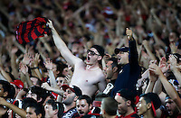 Wanderers fans react during the A-League match against Sydney FC in Sydney, March 8, 2014. VIEWPRESS/Daniel Munoz EDITORIAL USE ONLY