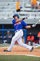 Luis Ortega (24) of the Kingsport Mets follows through on his swing against the Greeneville Astros at Hunter Wright Stadium on July 7, 2015 in Kingsport, Tennessee.  The Mets defeated the Astros 6-4. (Brian Westerholt/Four Seam Images)