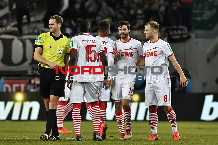 08.02.2019, Rheinenergiestadion, Köln, GER, DFL, 2. BL, VfL 1. FC Koeln vs FC St. Pauli, DFL regulations prohibit any use of photographs as image sequences and/or quasi-video<br /> <br /> im Bild Schlussjubel / Schlußjubel / Emotion / Freude / die Mannschaft von Koeln<br /> <br /> Foto © nph/Mauelshagen