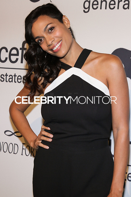HOLLYWOOD, LOS ANGELES, CA, USA - OCTOBER 30: Rosario Dawson arrives at UNICEF's Next Generation's 2nd Annual UNICEF Masquerade Ball held at the Masonic Lodge at the Hollywood Forever Cemetery on October 30, 2014 in Hollywood, Los Angeles, California, United States. (Photo by Rudy Torres/Celebrity Monitor)