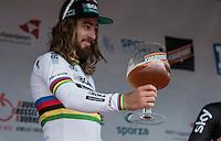 race winner Peter Sagan (SVK/Bora-Hansgrohe) & his winners beer on the podium<br /> <br /> 69th Kuurne-Brussel-Kuurne 2017 (1.HC)