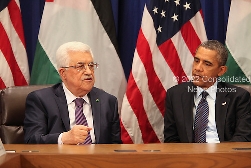 United States President Barack Obama, right, meets with President Mahmoud Abbas of the Palestinian Authority, left, after Obama addressed the 68th United Nations General Assembly in New York, New York on Tuesday, September 24, 2013.<br /> Credit: Allan Tannenbaum / Pool via CNP