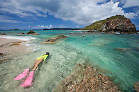 Natalie Klein snorkeling at Mingo Cay<br />