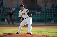 Visalia Rawhide starting pitcher Bo Takahashi (19) delivers a pitch to the plate during a California League game against the Stockton Ports at Visalia Recreation Ballpark on May 8, 2018 in Visalia, California. Stockton defeated Visalia 6-2. (Zachary Lucy/Four Seam Images)