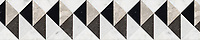 "8 1/16"" Arubus border, a hand-cut stone mosaic, shown in polished Soccoro Grey, Nero Marquina, Carrara, and honed Cavern."