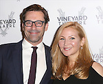 Jon Hamm and Jennifer Westfeldt attend the Off-Broadway opening Night Performance of 'Billy & Ray' at the Vineyard Theatre on October 20, 2014 in New York City.