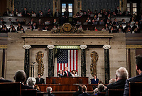 FEBRUARY 5, 2019 - WASHINGTON, DC: President Donald Trump delivered the State of the Union address, with Vice President Mike Pence and Speaker of the House Nancy Pelosi, at the Capitol in Washington, DC on February 5, 2019.<br /> Credit: Doug Mills / Pool, via CNP /MediaPunchCAP/MPI/RS<br /> &copy;RS/MPI/Capital Pictures