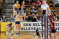 17 November 2011:  FIU outside hitter Marija Prsa (10) hits a kill shot in the third set as the FIU Golden Panthers defeated the Denver University Pioneers, 3-1 (25-21, 23-25, 25-21, 25-18), in the first round of the Sun Belt Conference Tournament at U.S Century Bank Arena in Miami, Florida.