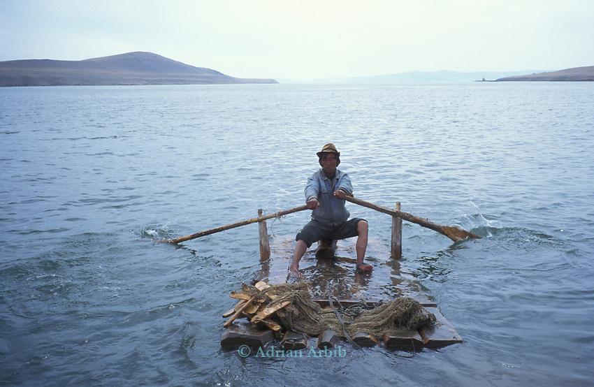 Fishing  on  Tsataan Uul lake,   Outer Mongolia.