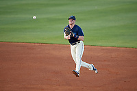 Mobile BayBears shortstop Connor Justus (7) throws to first base during a Southern League game against the Jacksonville Jumbo Shrimp on May 7, 2019 at Hank Aaron Stadium in Mobile, Alabama.  Mobile defeated Jacksonville 2-0.  (Mike Janes/Four Seam Images)
