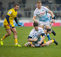 24th November 2019; AJ Bell Stadium, Salford, Lancashire, England; European Champions Cup Rugby, Sale Sharks versus La Rochelle; Ben Curry of Sale Sharks is tackled - Editorial Use