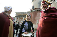 Costumi medievali in Campo San Giacomo dall'Orio, in occasione del Carnevale di Venezia.<br /> Celebrants wear medieval costumes for the Carnival in  Campo San Giacomo dall'Orio, in Venice.<br /> UPDATE IMAGES PRESS/Riccardo De Luca