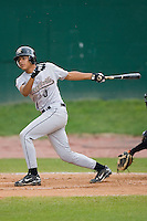 Rene Garcia (5) of the Greeneville Astros follows through on his swing at Bowen Field in Bluefield, WV, Sunday July 6, 2008. (Photo by Brian Westerholt / Four Seam Images)