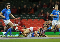 Italy&rsquo;s Michela Sillari scores her sides fourth try<br /> <br /> Photographer Ian Cook/CameraSport<br /> <br /> 2018 Women's Six Nations Championships Round 4 - Wales Women v Italy Women - Sunday 11th March 2018 - Principality Stadium - Cardiff<br /> <br /> World Copyright &copy; 2018 CameraSport. All rights reserved. 43 Linden Ave. Countesthorpe. Leicester. England. LE8 5PG - Tel: +44 (0) 116 277 4147 - admin@camerasport.com - www.camerasport.com