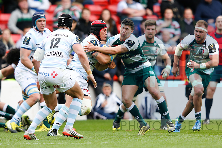 Racing 92?s Chris Masoe and Leicester?s Ben Youngs during the 2016 semi-final of the European Rugby Champions Cup match at the City Ground, Nottingham. Photo credit should read: Charlie Forgham Bailey/Sportimage