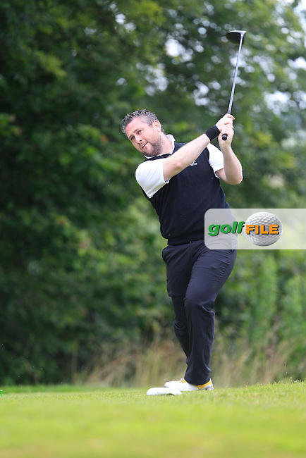 Joe McDonald (Ballykisteen) on the 10th tee during the Final round of the Munster section of the AIG Pierce Purcell Shield at East Clare Golf Club on Sunday 19th July 2015.<br /> Picture:  Golffile   Thos Caffrey