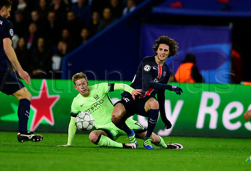 06.04.2016. Paris, France. UEFA CHampions League, quarter-final. Paris St Germain versus Manchester City.  Kevin De Bruyne ( Manchester city ) and Adrien Rabiot ( PSG )