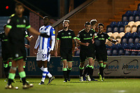 Liam Shephard of Forest Green Rovers (R) scores the first goal for his team and celebrates with his team mates during Colchester United vs Forest Green Rovers, Sky Bet EFL League 2 Football at the JobServe Community Stadium on 12th March 2019