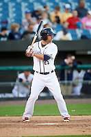 Syracuse Chiefs second baseman Scott Sizemore (25) at bat during a game against the Louisville Bats on June 6, 2016 at NBT Bank Stadium in Syracuse, New York.  Syracuse defeated Louisville 3-1.  (Mike Janes/Four Seam Images)