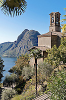 Switzerland, Ticino, Castagnola at Lago Lugano: church San Giorgio and Monte San Salvatore | Schweiz, Tessin, Castagnola am Luganer See: Kirche San Giorgio and Monte San Salvatore