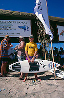 Kuta Beach, Bali, Indonesia. Team Australia attending the Quiksilver Grommet contest in 1995. Australian Team Coach Wayne 'Rabbit' Bartholomew (AUS) with Nathan Hedge (AUS).  Photo: joliphotos.com